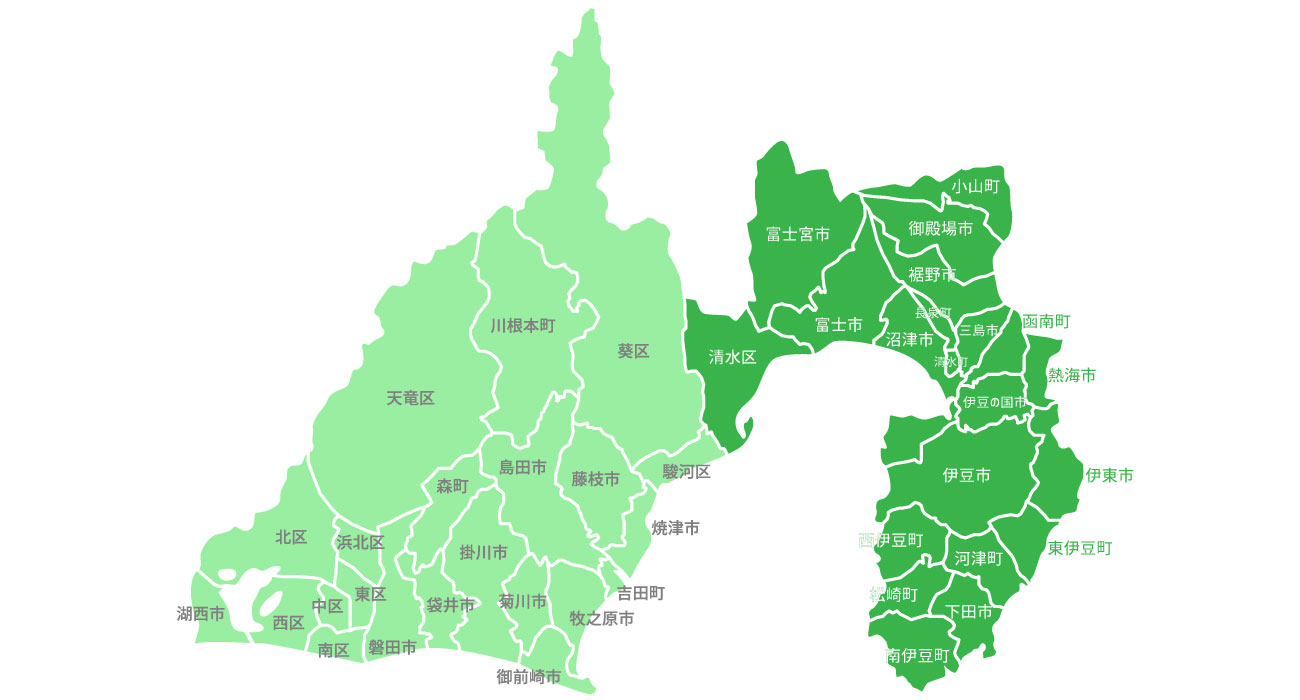 静岡県のエアコン工事対応エリア