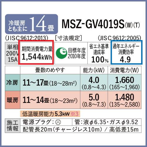 MSZ-GV4019S|期間消費電力量