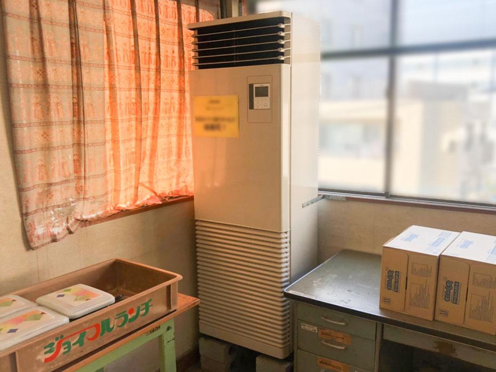 東芝製業務用床置きエアコン入替え工事|川崎市