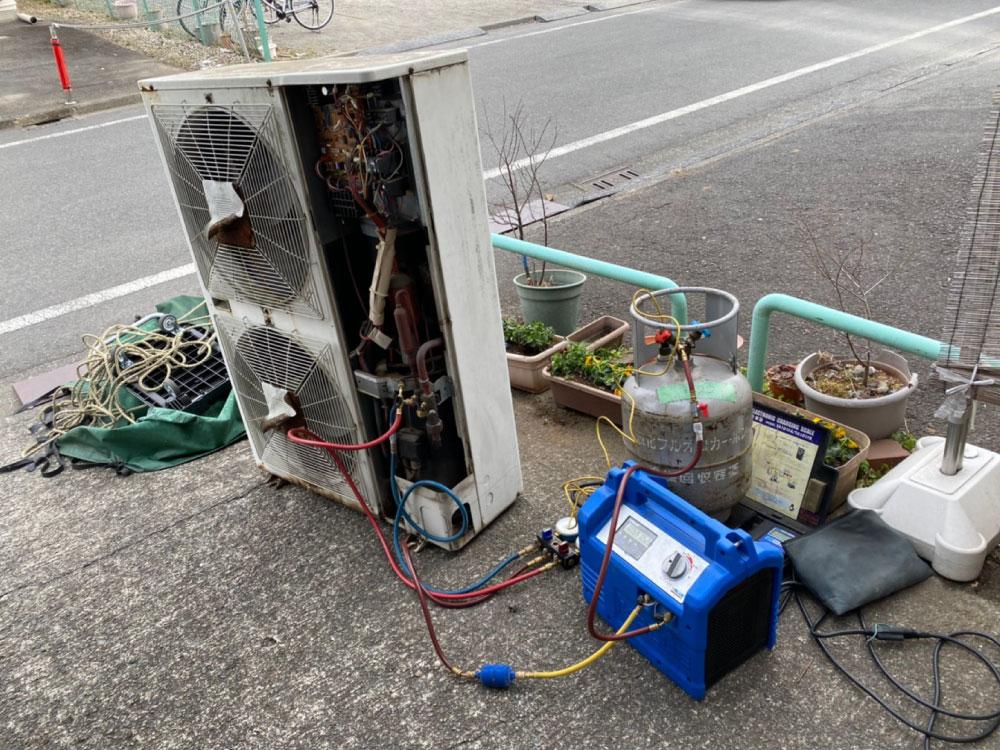 既存室外機のガス回収